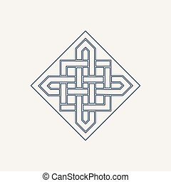 Vector lineart ornament - Linear arabic ornament. Vector...