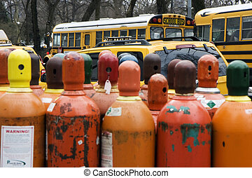 Helium gaz tanks - Orange tanks with helium gas in the...