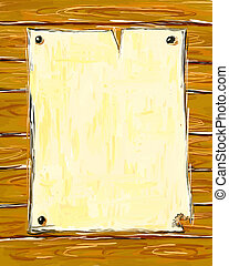 wanted - blank old paper page on wooden wall - illustration