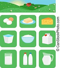 Milk products icons - Milk productsicons in green squares....