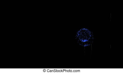 3D Render Multiple Fireworks Blue Sharp Vibrant Clean 4K...