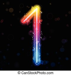 Number Rainbow Lights Glitter with Sparkles - Vector -...