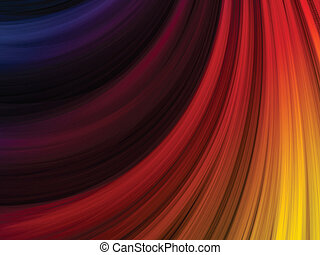 Abstract Colorful Waves on Black Background - Vector -...