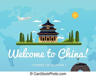 Welcome to China poster with famous attraction