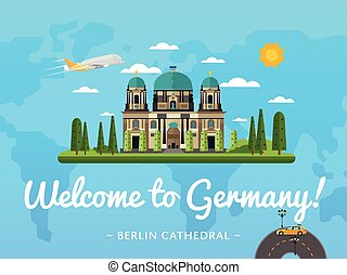 Welcome to Germany poster with famous attraction vector...
