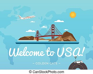 Welcome to USA poster with famous attraction
