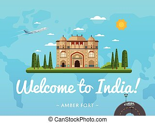 Welcome to India poster with famous attraction vector...