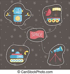 Space Cartoon Vector Icons Set - Space icons in cartoon...