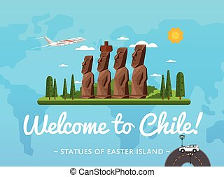 Welcome to Chile poster with famous attraction vector...