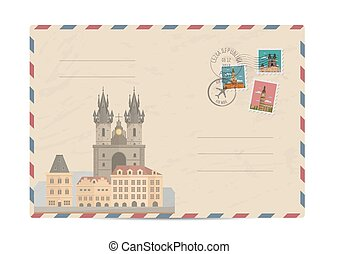 Vintage postal envelope with stamps - Church of Our Lady...