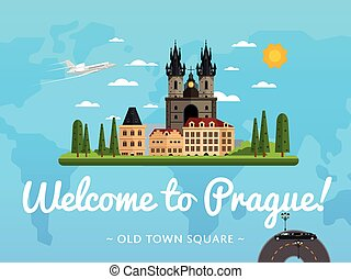 Welcome to Prague poster with famous attraction vector...