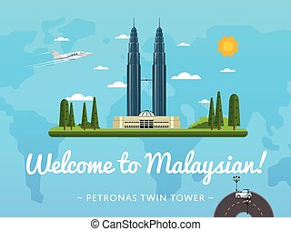 Welcome to Malaysia poster with famous attraction vector...