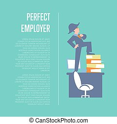 Perfect employer banner with businessman