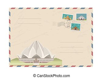 Vintage postal envelope with stamps - Lotus Temple in Delhi,...