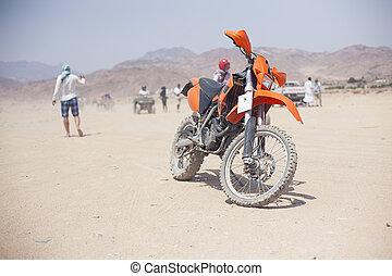 pustynia, Podróż,  safari, Motocykl