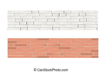 Banner set with white and red brick wall