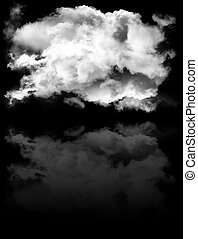 Single smoky cloud shape with reflection isolated over black...