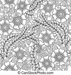Seamless floral doodle black and white background pattern....