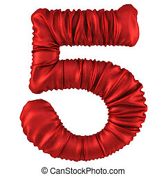 digits made of red fabric. Isolated on white. 3D...