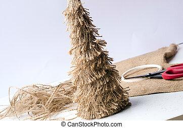 brown sacking christmass tree, hand made
