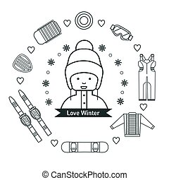 Winter kids activities line icon set.