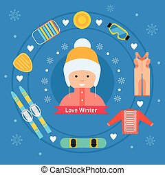 Winter activity flat icons. - Winter flat sports icons. Girl...
