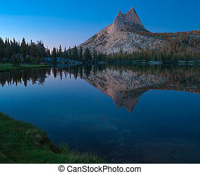 Cathedral Peak and Lake. Yosemite National Park.