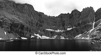 Iceberg Lake In Black and White