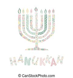 Cute Hanukkah greeting card, invitation