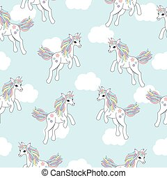 Seamless background of animal illustration with cute unicorn on blue sky background