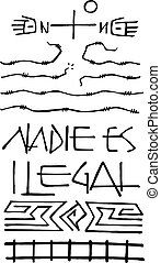 No one is illegal - Hand drawn vector illustration or...