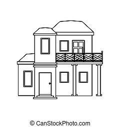 house with balcony roof garden outline vector illustration...