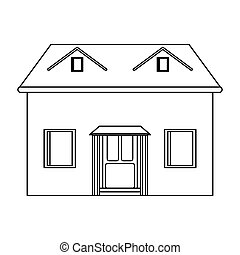 house facade loft outline icon vector illustration eps 10