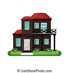 house with balcony red roof garden design vector...