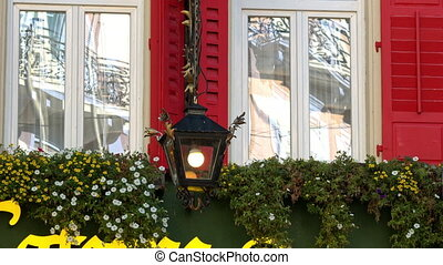 Baden-Baden vintage lantern on the facade of the house