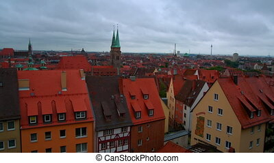 Strasbourg, top view, red roofs of houses, cars