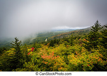 Early autumn view from Black Rock, at Grandfather Mountain,...