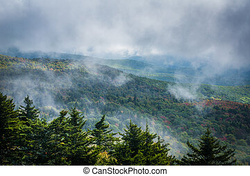 Foggy view of the Blue Ridge Mountains from Grandfather Mountain, North Carolina.