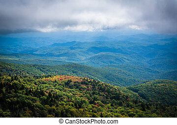 Cloudy view of the Blue Ridge Mountains from Grandfather Mountain, North Carolina.