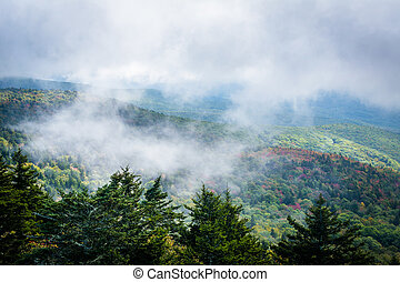 Foggy view of the Blue Ridge Mountains from Grandfather...