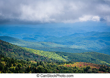 Cloudy view of the Blue Ridge Mountains from Grandfather...