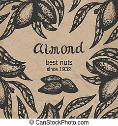 Almond tree design template. Almond branch hand drawn almond...