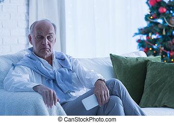 anziano, triste, uomo