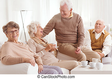 Retired people spending time together - Happy retired people...