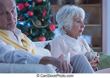 Lonely elderly couple