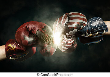 Cold War between USA and Russia symbolized with Boxing...