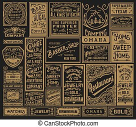 Mega pack of old advertisement designs and labels - Vector...