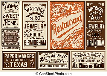 Pack old advertisement designs and labels - Vector...