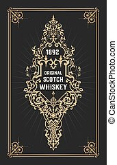 Old label design for Whiskey and Wine label, Restaurant...