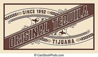 Tequila label with old ornaments